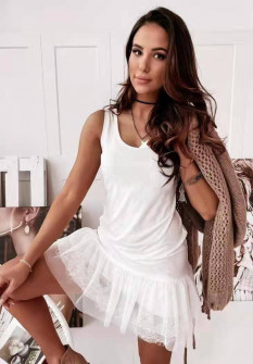 Γυναικείο φόρεμα με δαντέλα 3506 άσπρο