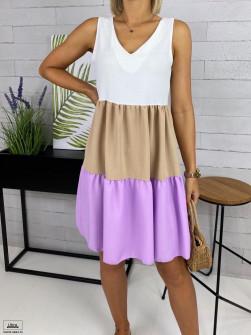 Дамска трицветна рокля 33866 лилава