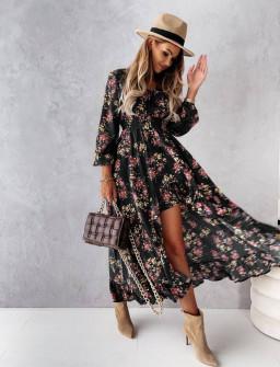 Γυναικείο φόρεμα με ασύμμετρο πίσω μέρος 56306 μαύρο