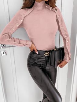 Μπλούζα με εντυπωσιακά μανίκια 4179 ροζ