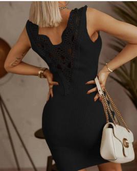 Γυναικείο φόρεμα με εντυπωσιακή δαντέλα 5583 μαύρο