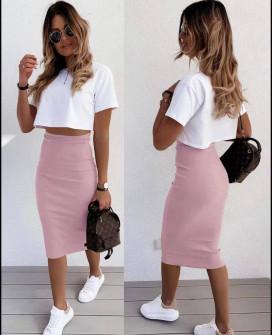 Γυναικεία ψηλόμεση φούστα 5195 ροζ