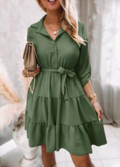 Γυναικείο φόρεμα με ζώνη 5971 σκούρο πράσινο