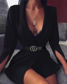 Γυναικείο σακάκι με σκίσιμο στο μανίκι 3994 μαύρο