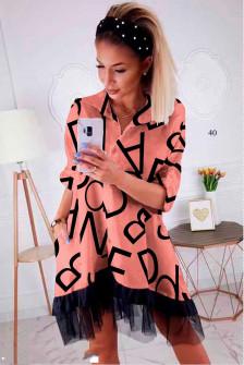 Γυναικείο φόρεμα με print και δαντέλα 502403 κοραλί
