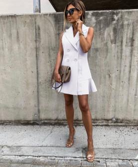 Γυναικείο φόρεμα με κουμπιά από τις δύο πλευρές 5066 άσπρο