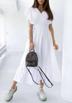 Γυναικείο μακρύ φόρεμα 21815 άσπρο