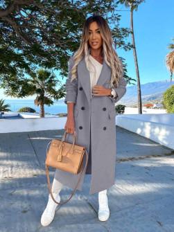 Γυναικείο μακρύ παλτό με φόδρα 5893 γκρι