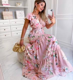 Γυναικείο plus size μακρύ φόρεμα 2125501 ροζ