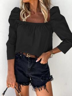 Γυναικεία μπλούζα με φουσκωτό μανίκι 8568 μαύρη
