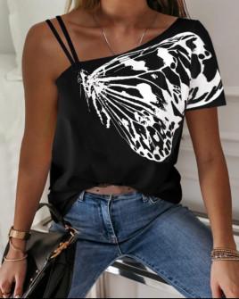 Дамска блуза с един ръкав 3507 черна
