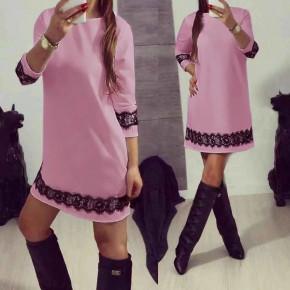 Γυναικείο φόρεμα με δαντέλα 383101 ροζ