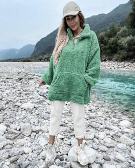 Γυναικείο χνουδωτό πουλόβερ 3868 πράσινο