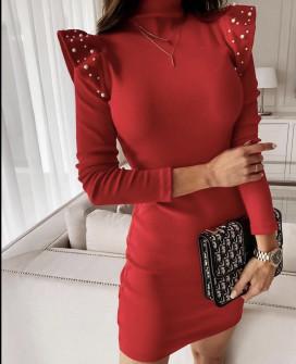 Φόρεμα με πέρλες 5443 κόκκινο