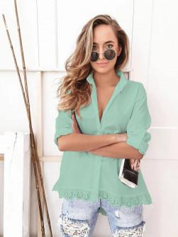 Γυναικείο πουκάμισο με δαντέλα 21069 πράσινο