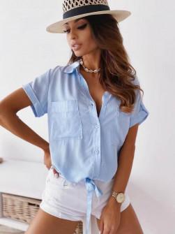 Γυναικείο πουκάμισο με δέσιμο 5606  γαλάζιο