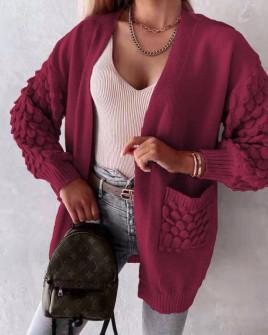 Γυναικεία ζακέτα με εντυπωσιακά μανίκια 00897 μπορντό