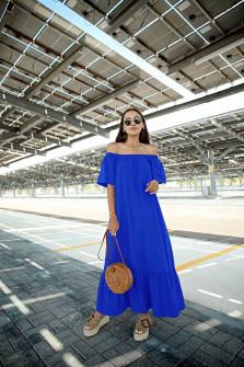 Γυναικείο μακρύ χαλαρό φόρεμα 5185 μπλε