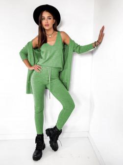 Γυναικείο σετ 3τμχ. τοπάκι, ζακέτα και κολάν 62010 πράσινο
