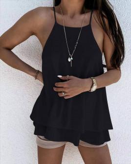 Γυναικείο μονόχρωμο τοπάκι 5777 μαύρο