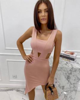 Γυναικείο εφαρμοστό φόρεμα 3670 πούδρα