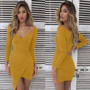 Γυναικείο εφαρμοστό φόρεμα 7106 κίτρινο