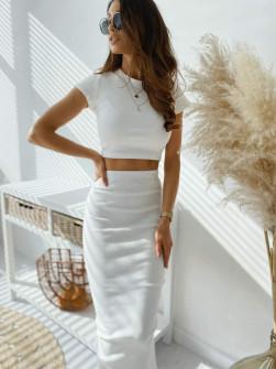 Γυναικείο σετ φούστα και μπλούζα 2396 άσπρο
