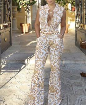 Γυναίκεια ολόσωμη φόρμα με ανοιχτό ντεκολτέ 5087