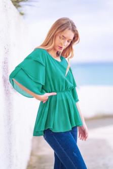 Γυναικεία μπλούζα με εντυπωσιακό μανίκι 5071 πράσινη