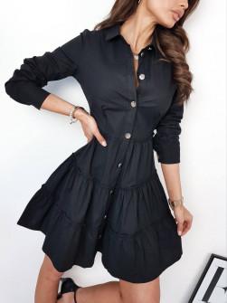 Γυναικείο φόρεμα με κουμπιά 21922 μαύρο