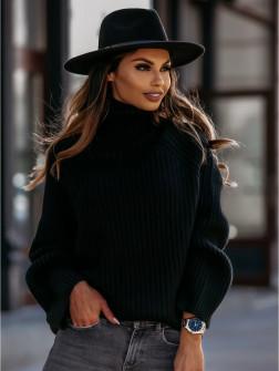 Χαλαρό πουλόβερ 00787 μαύρο