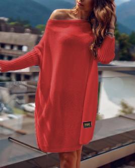 Γυναικείο πλεκτό μπλουζοφόρεμα 00633 κόκκινο