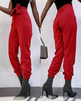 Γυναικείο παντελόνι με ζώνη 5960 κόκκινο