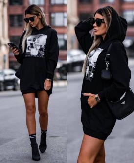 Γυναικείο αθλητικό μπλουζοφόρεμα 4908 μαύρο