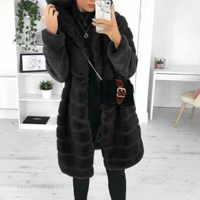 Γούνινο παλτό με κουκούλα 1991 μαύρο