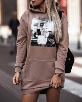 Γυναικείο αθλητικό μπλουζοφόρεμα 4908 καπουτσίνο