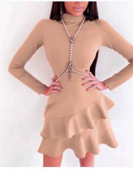 Γυναικείο κομψό φόρεμα 21655 πούδρα