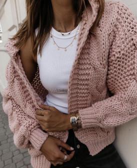Γυναικεία κοντή ζακέτα με κουκούλα 9106 ροζ