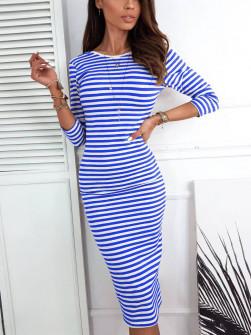 Γυναικείο φόρεμα ριγέ 3530 μπλε