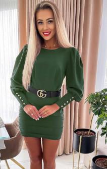 Γυναικείο φόρεμα με ζώνη 6016 σκούρο πράσινο