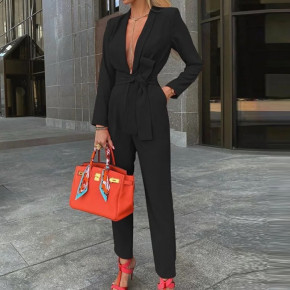 Γυναικεία κομψή ολόσωμη φόρμα 2528μ κόκκινη