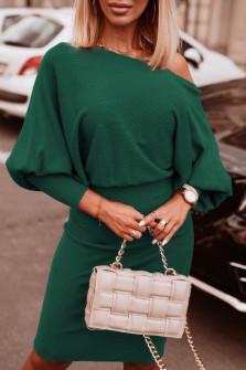 Γυναικείο φόρεμα με έναν ώμο 3675 πράσινο