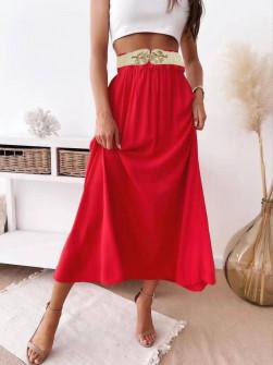 Γυναικεία φούστα με ελαστική ζώνη 82196 κόκκινη
