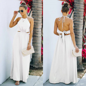 Γυναικείο μακρύ φόρεμα 8121 άσπρο