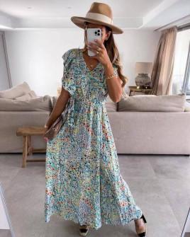 Γυναικείο μακρύ φόρεμα με print 371302