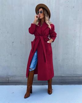 Γυναικείο μακρύ παλτό με φόδρα 5981 μπορντό