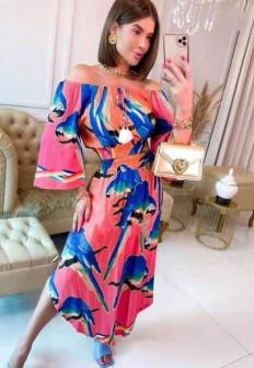 Γυναικείο φόρεμα με χρωματιστό print 5516