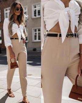 Γυναικείο παντελόνι με ζώνη 5887 μπεζ