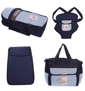 Σετ από 4 τμχ.- πορτ μπεμπέ, τσάντα, μάρσιπος και στρώμα 04106 σκούρο μπλε/μπλε