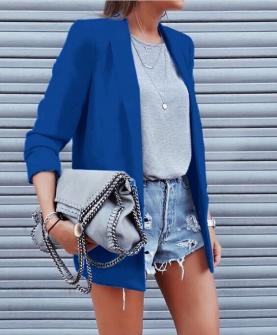 Γυναικείο κομψό σακάκι με φόδρα 3229 μπλε ρουά